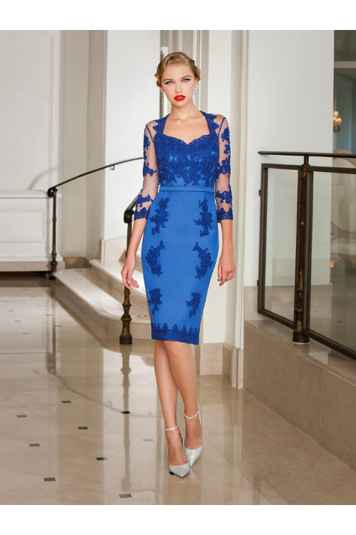 3/4 Sleeve Lace overlay Satin Sweetheart Neckline Knee Length Blue Cocktail Dress
