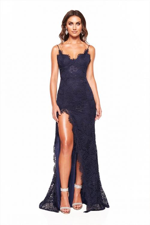 Sheath/Column Spaghetti Straps Sleeveless Lace Split Floor-length Long Prom Dresses