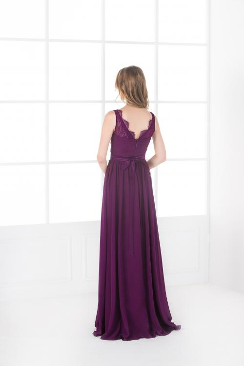 Vintage Lace Straps Pleated Long Eggplant Chiffon Bridesmaid Dress