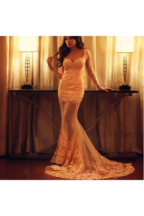 Sexy V Neck Lace Appliques Long Mermaid Lace overlay Champagne Tulle Prom Dress