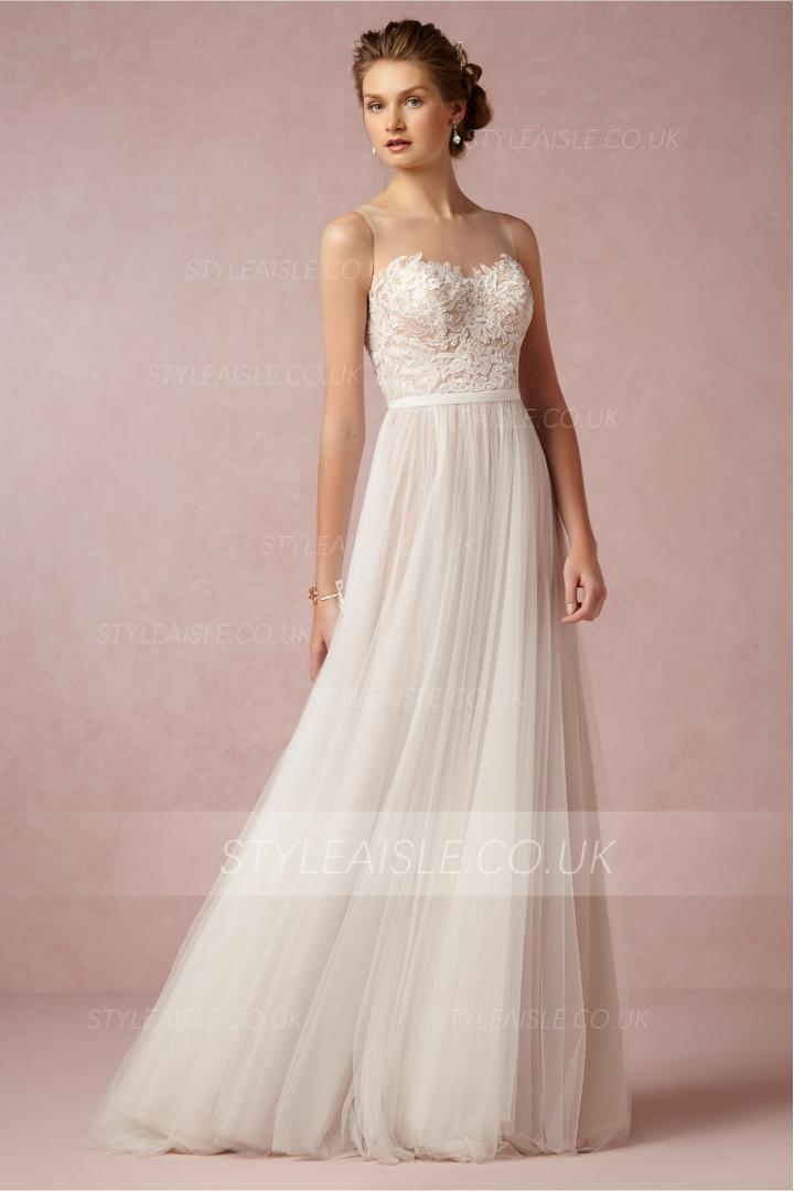 Vintage Floral Lace Patterned Illusion Bateau Neck A-line champagne lining Wedding Dress