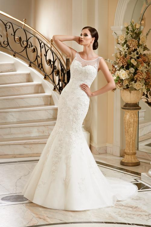Sexy Trumpet/Mermaid Illusion Sleeveless Beading&Sequins Lace Sweep/Brush Train Tulle Wedding Dresses