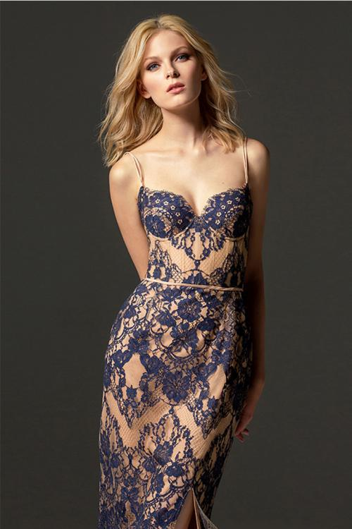 Sheath/Column Double Spaghetti Straps Sleeveless Lace Split Knee-length Short Cocktail Dress