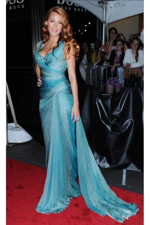 Blake Lively Best Dressed Party Long Tight Chiffon Prom Dress with Beading