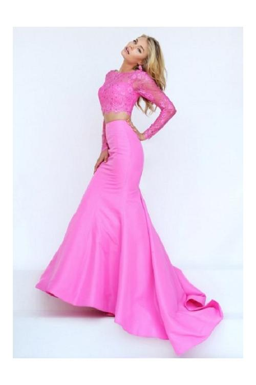 Two Piece Jewel Neck Long Sleeved Mermaid Long Taffeta Prom Dress
