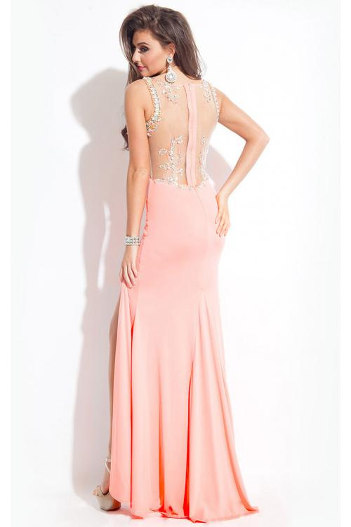 Halter Neck Sleeveless Long Split Sheath Long Jersey Prom Dress with Crystal Embellishedment