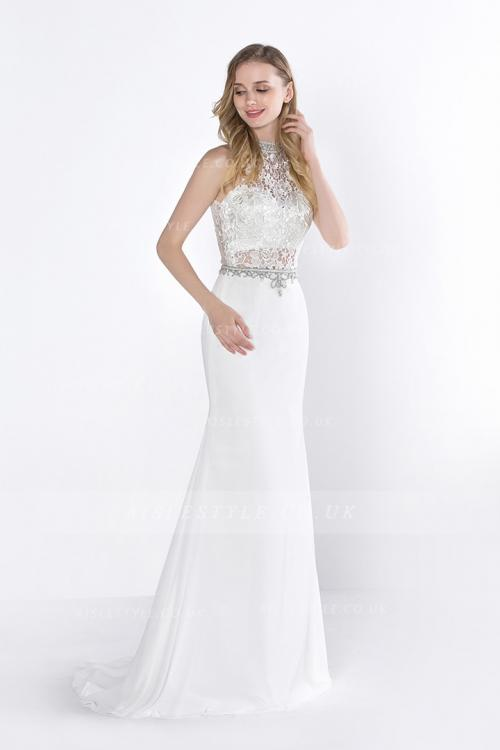 Sheath Jewel Sleeveless Appliques Beading Lace Floor-length Long Prom Dress