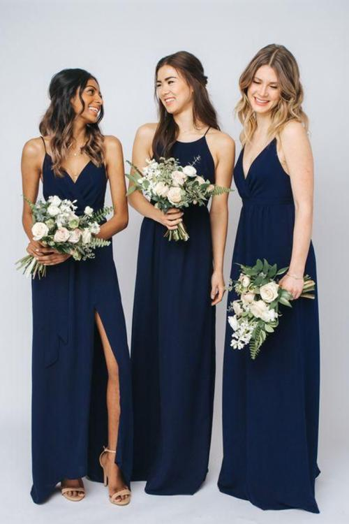Simple Sheath/Column Spaghetti Straps Sleeveless Ruching Floor-length Long Chiffon Bridesmaid Dresses (with 3 Styles A/B/C)