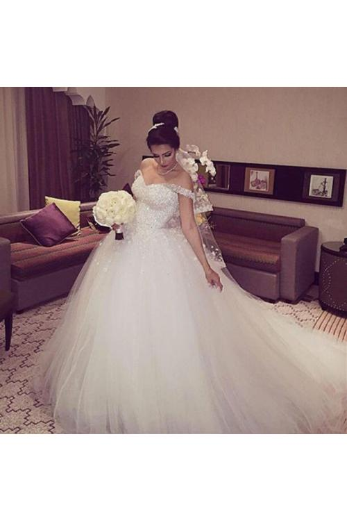 Off-the-shoulder Ball Gown Tulle Long Wedding Dress with Beading and Hand Made Flowers