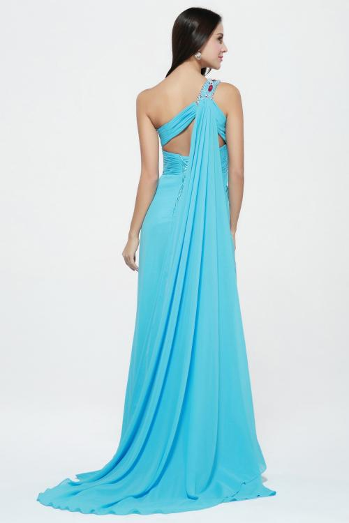 Sleeveless One Shoulder Split Long Blue Chiffon Simple Junior Prom Dress