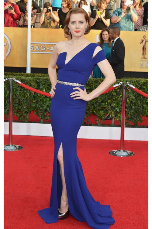 Amy Adams Berardi Split Sleeveless One Shoulder Royal Blue Long Jersey Prom Dress with Beading