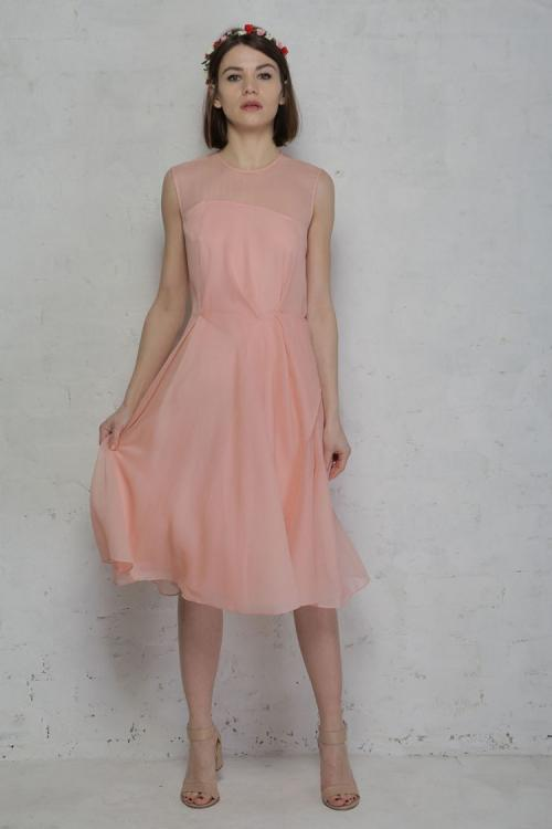 A-line Jewel Sleeveless Knee-length Long Chiffon Bridesmaid Dress