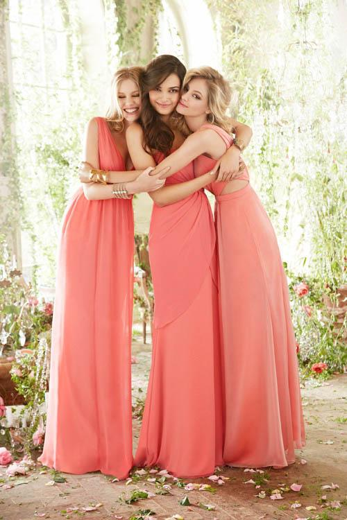 Sleeveless V Neck Empire A-line Watermelon Long Chiffon Maternity Bridesmaid Dress