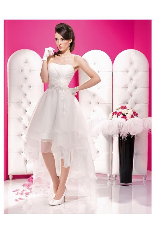 A-line Strapless Beading Ruching Hand Made FlowersAsymmetrical Organza Wedding Dress