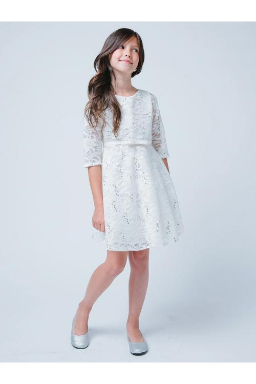 Knee-length Half sleeves Sequins Lace Flowergirl Dresses