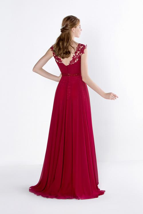Chic Sleeveless V Neck A-line Long Chiffon Prom Dress