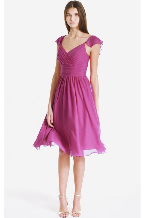 Cap Sleeves Zipper V-neck Knee-length Chiffon Bridesmaid Dresses
