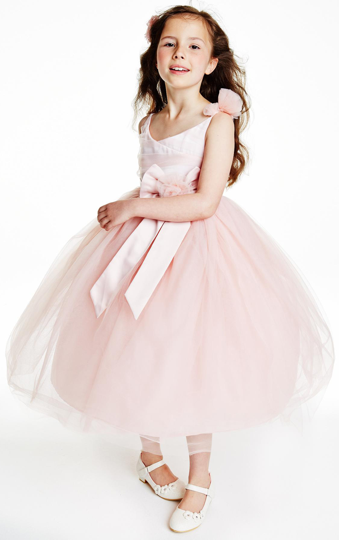 Princess Tea Length Spaghetti Strap Flowers Adorbed Tulle Flower Girl Dresses