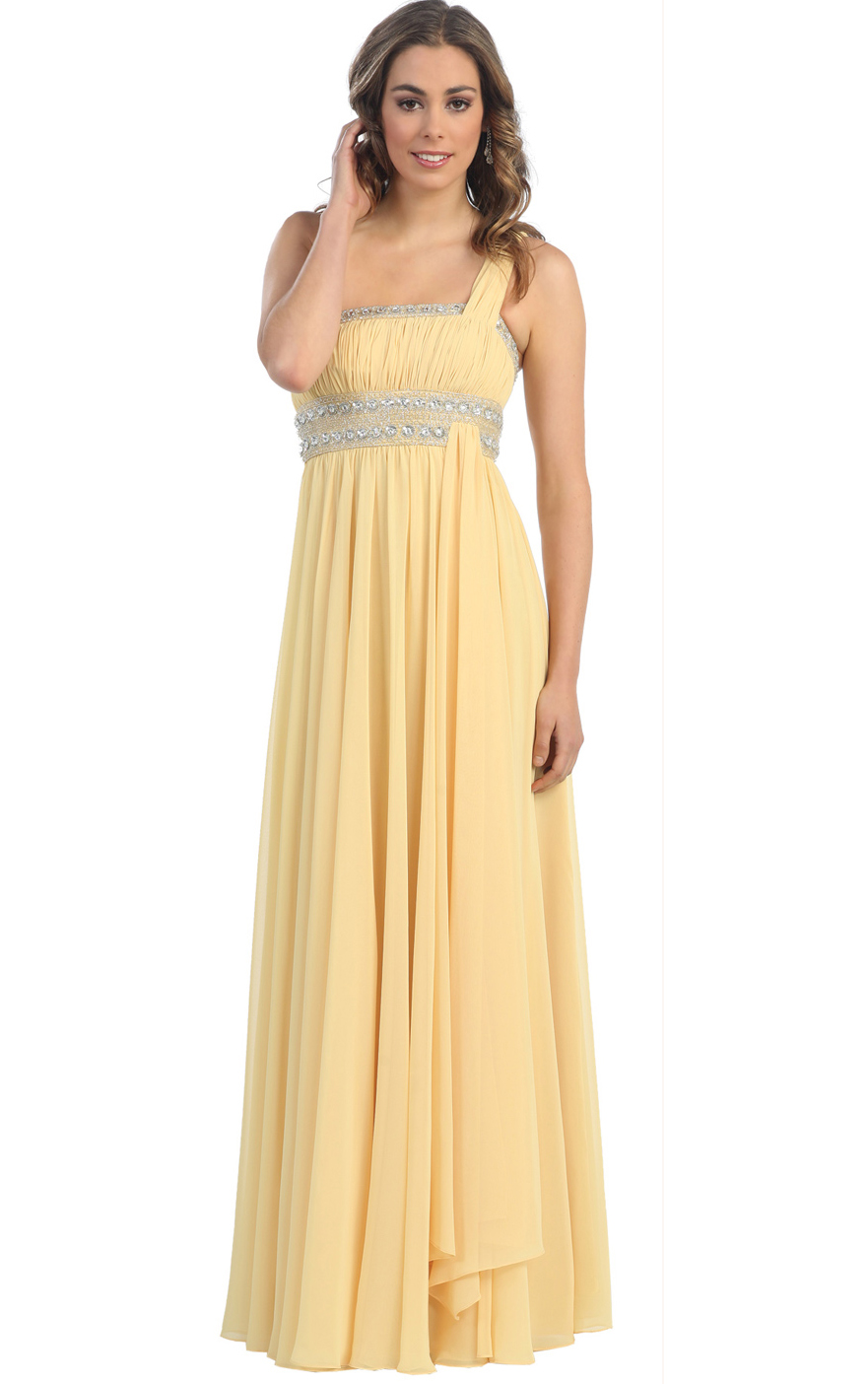 One Shoulder A-line Zipper Floor-length Chiffon Prom Dress