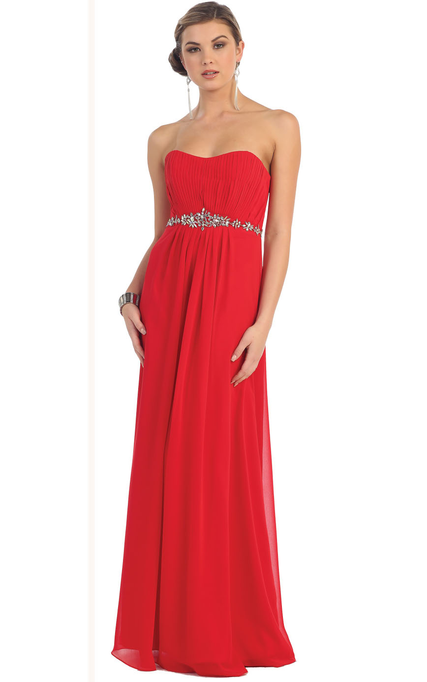 Strapless Sweetheart Floor-length A-line Lace-up Chiffon Prom Dress with Crystal Belt
