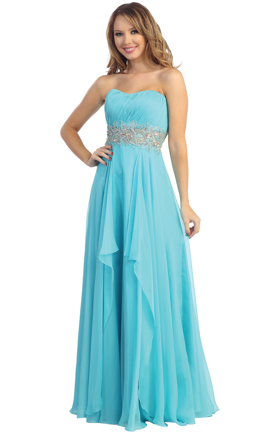 Chiffon Strapless Sweetheart EmpireChiffon Prom Dress