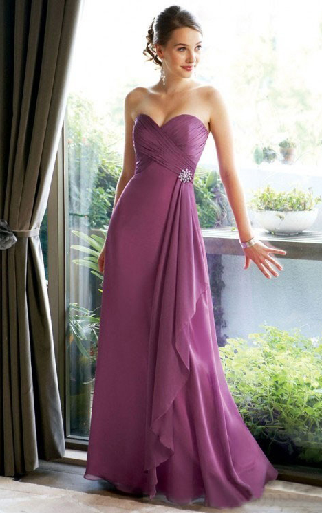 Sleeveless Floor-length Sheath Chiffon Zipper Bridesmaid Dresses