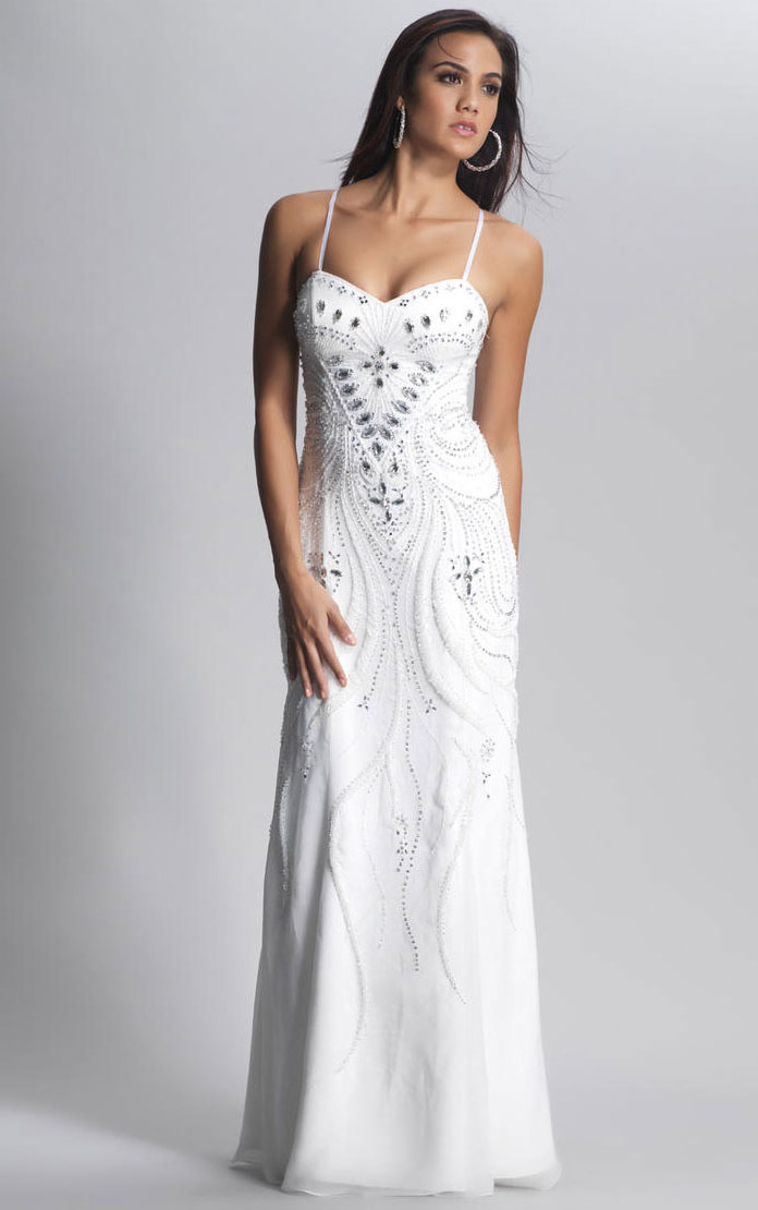 Spaghetti Straps Empire Sleeveless Floor-length A-line Evening Dress
