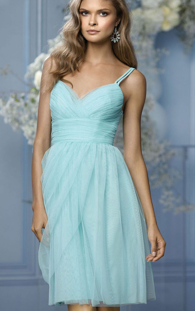 Spaghetti Straps Natural Sleeveless Knee-length Sheath Bridesmaid Dresses