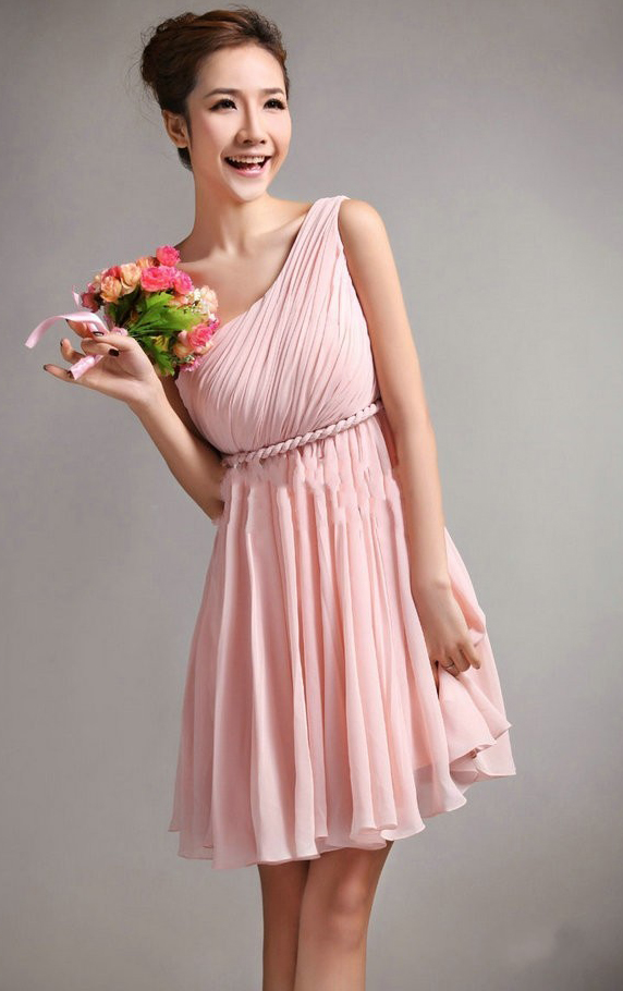 Chiffon Sleeveless A-line Natural One Shoulder Bridesmaid Dresses