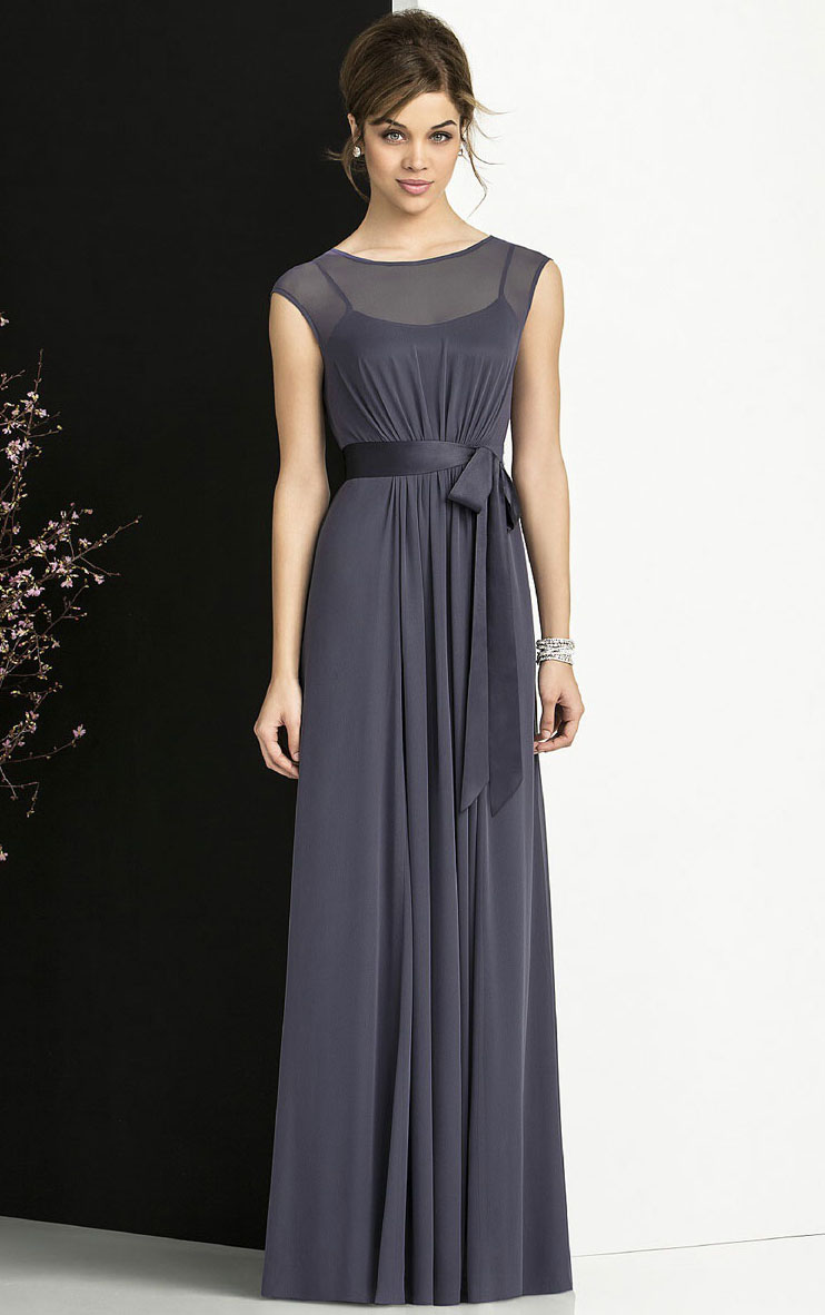 A-line Empire Chiffon Floor-length Bateau Bridesmaid Dresses_1