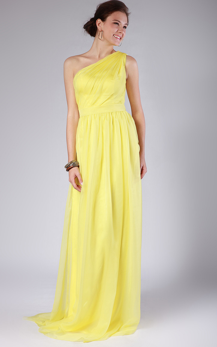 Sleeveless Chiffon Natural One Shoulder A-line Bridesmaid Dresses
