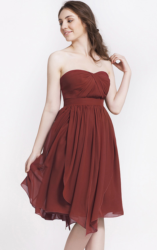Strapless Natural Chiffon Knee-length Sweetheart Bridesmaid Dresses