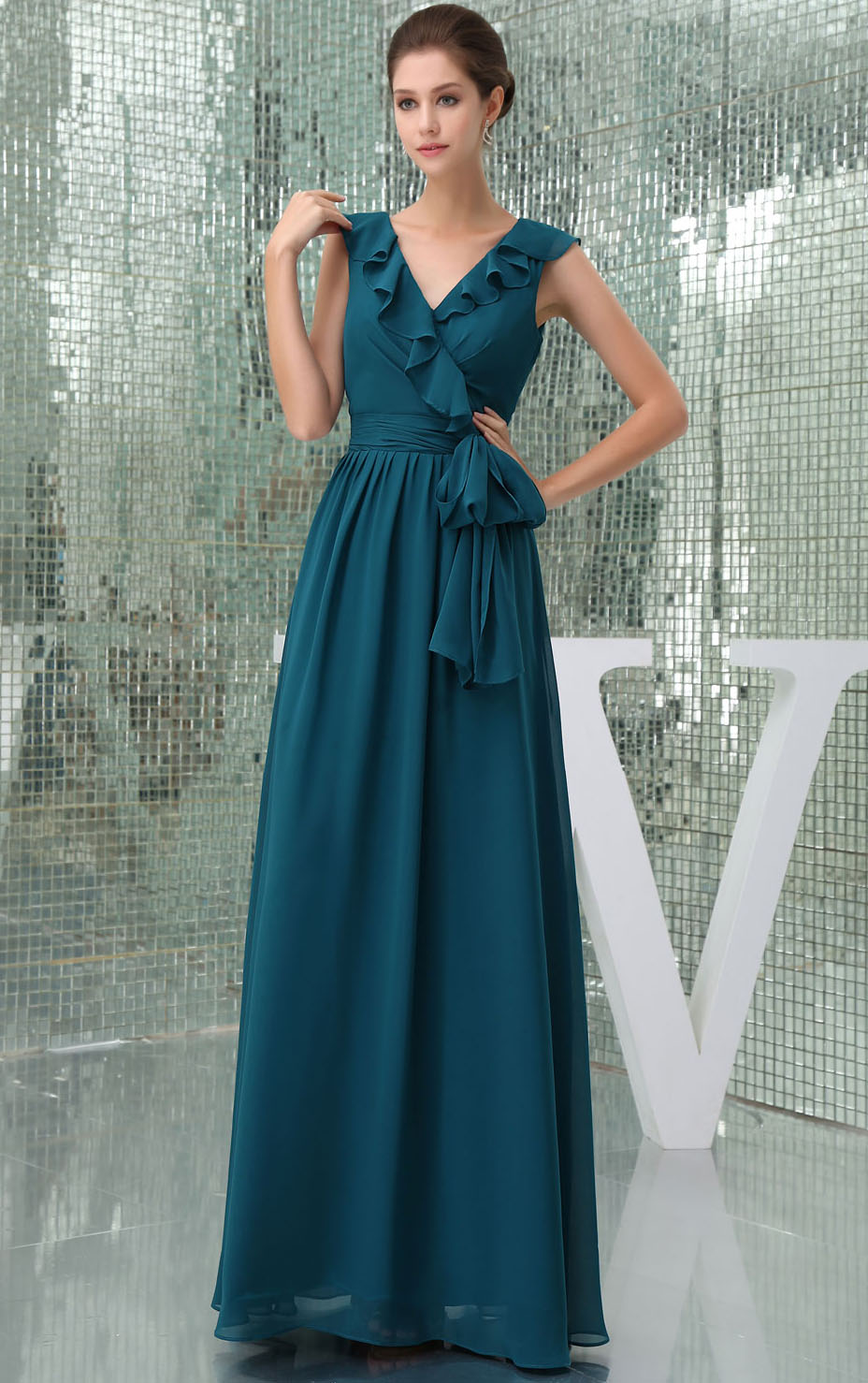 Chiffon Sleeveless A-line Natural Floor-length Bridesmaid Dresses
