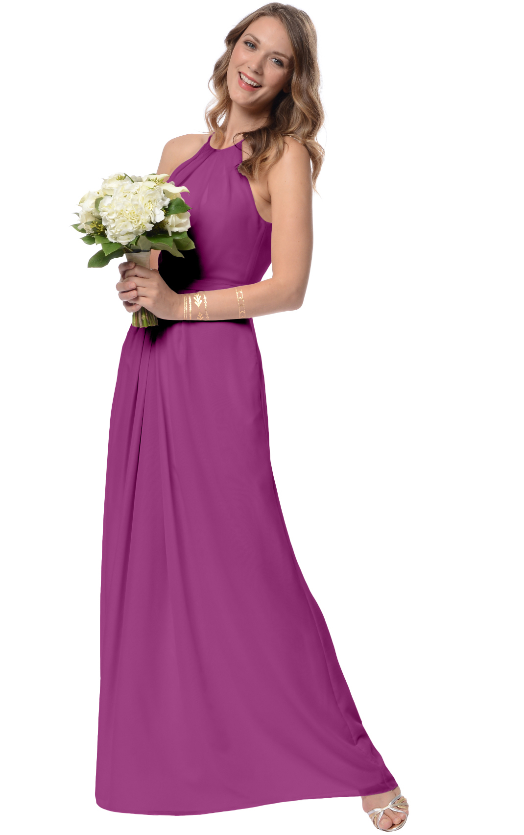 Floor-length None Natural Sleeveless A-line Bridesmaid Dresses