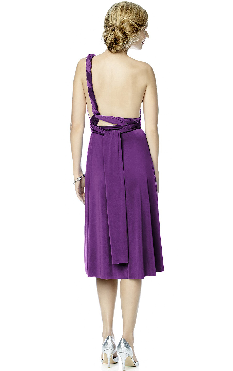 Knee-length Sleeveless Backless A-line Satin Bridesmaid Dresses_2