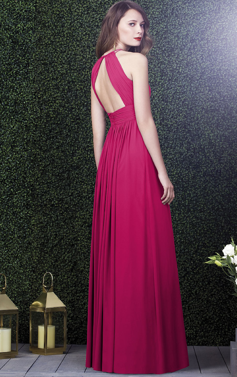 Backless Sleeveless Floor-length Natural Chiffon Bridesmaid Dresses_2