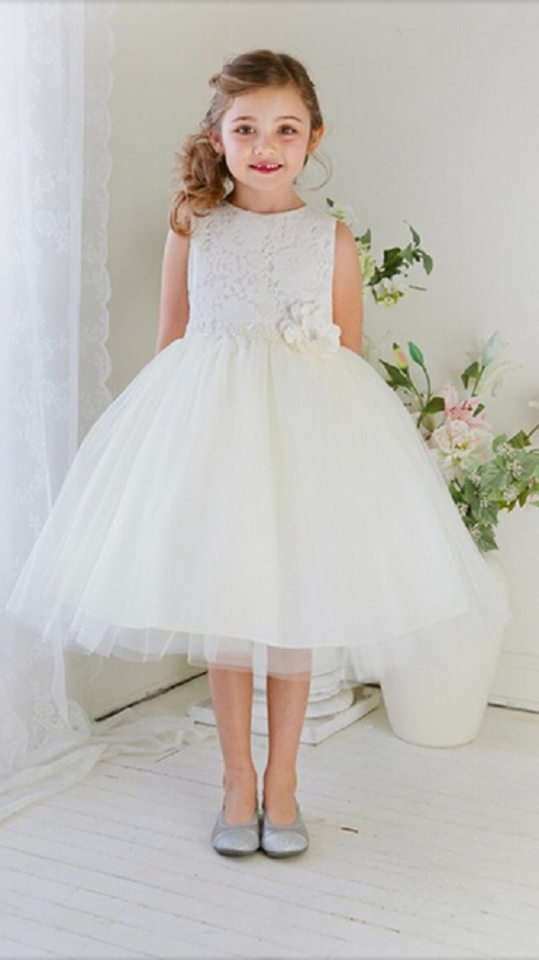 Knee Length Lace Bodice Ball Gown Tulle Flower Girl Dress with Flowers