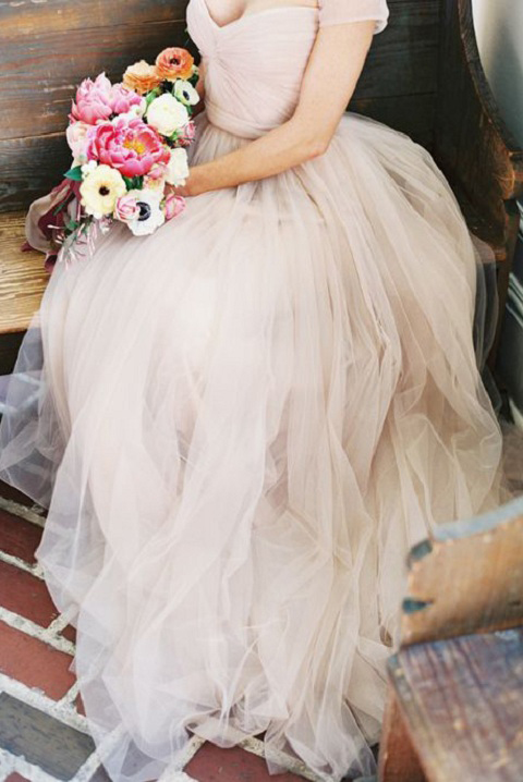 Ball Gown Off Shoulder Long Blush Color Tulle Wedding Dress