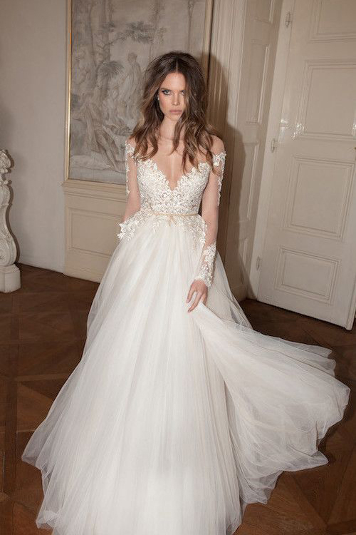 Illusion Lace Sleeve Vintage Inspired Boho Tulle A-line Wedding Dress