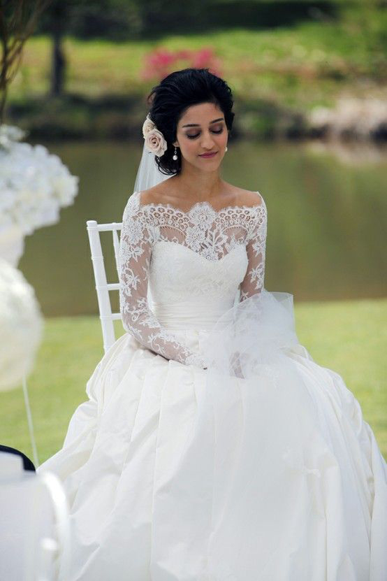 Modest Ball Gown Lace Sleeves Exquisite Lace Top Wedding Dress