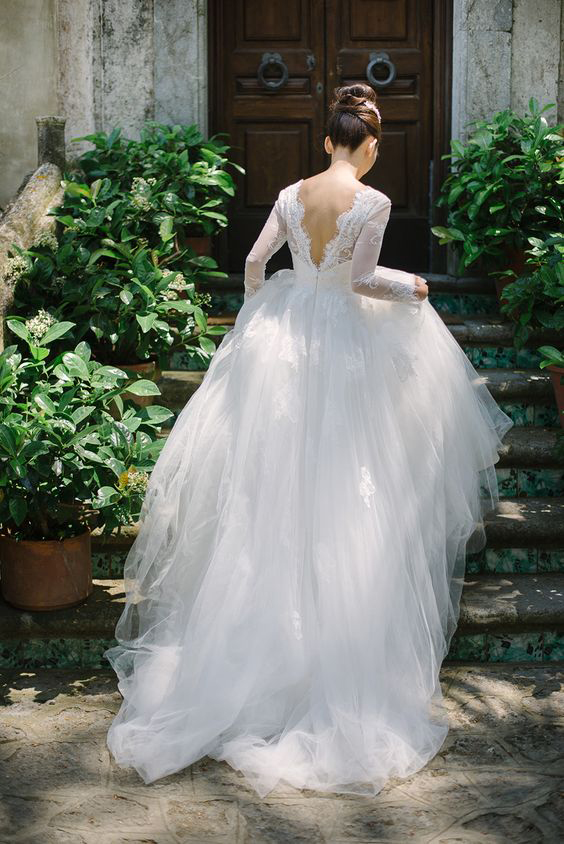 Princess A-line Lace Long Sleeve Puffy Tulle Spring Wedding Dress