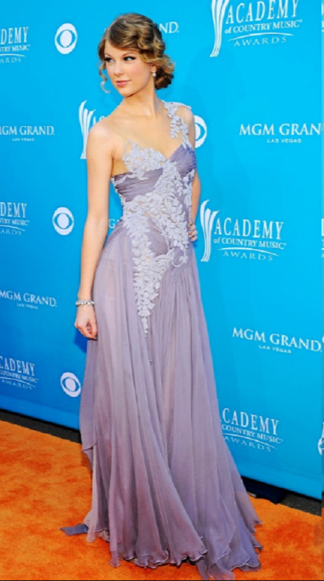 Blake Lively Illusion Jewel Neck Lace Appliques Long Lilac Chiffon Prom Dress