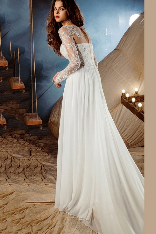 Sexy Split Vintage Long Chiffon Wedding Dress with Long Sleeves
