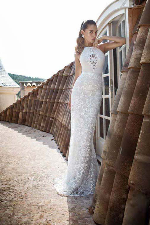 Vintage Sexy Backless Sheath White Lace Beach Wedding Dress