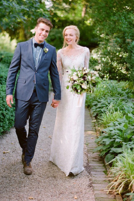 Sparkly Sequin Lace Embroidery Long Sheath Rustic Wedding Dress