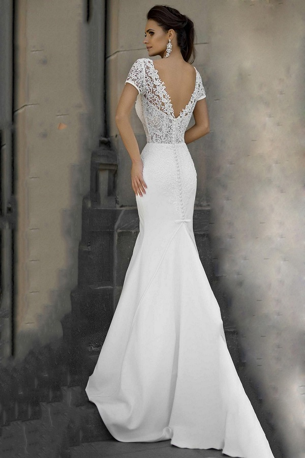 Charming Short Sleeve V Neck Lace Bodice Beading Waist Long Mermaid White Satin Wedding Dress