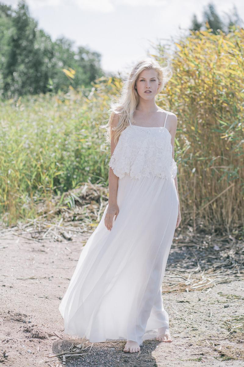 Informal Boho Lace Long White Chiffon Beach Wedding Dress