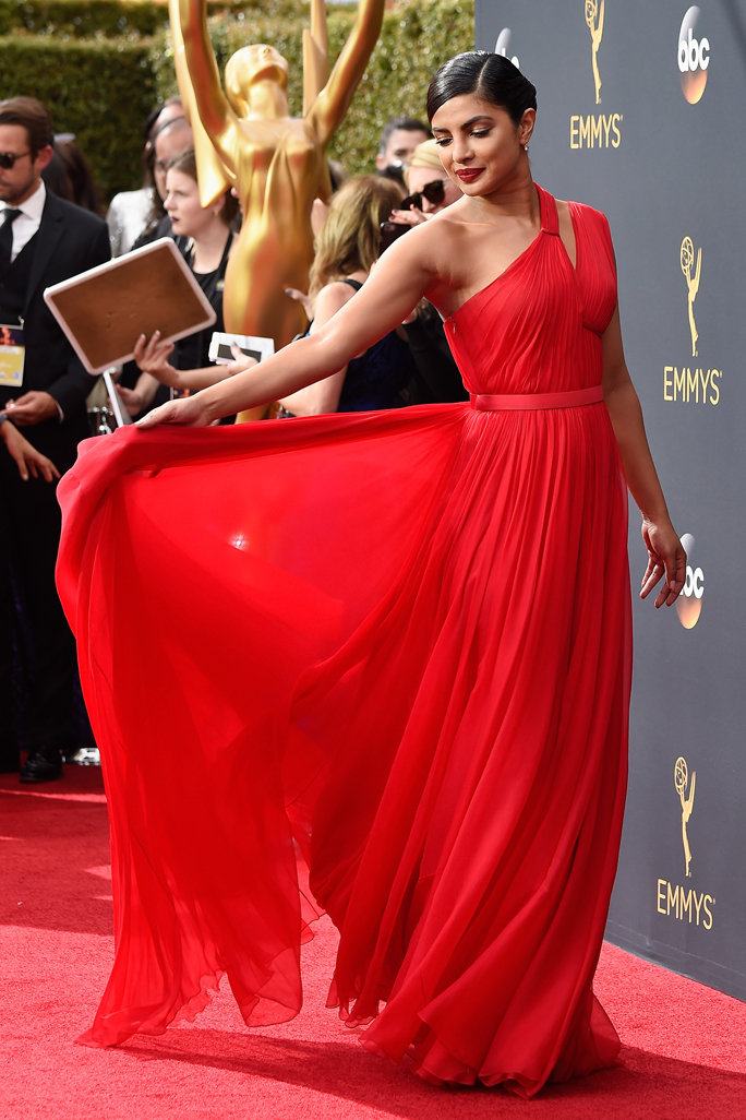 Priyanka Chopra Red One shoulder Emmy-Awards Red Carpet Inspired Prom Dress