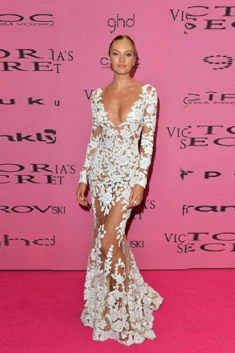 Sexy V Neck White Lace See Through Long Mesh Celebrity Prom Dress with Long Sleeves
