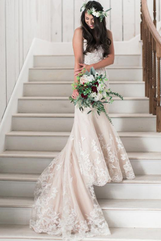 Exquisite Mermaid Sweetheart Lace Sweep/Brush Train BlushTulle Wedding Dresses